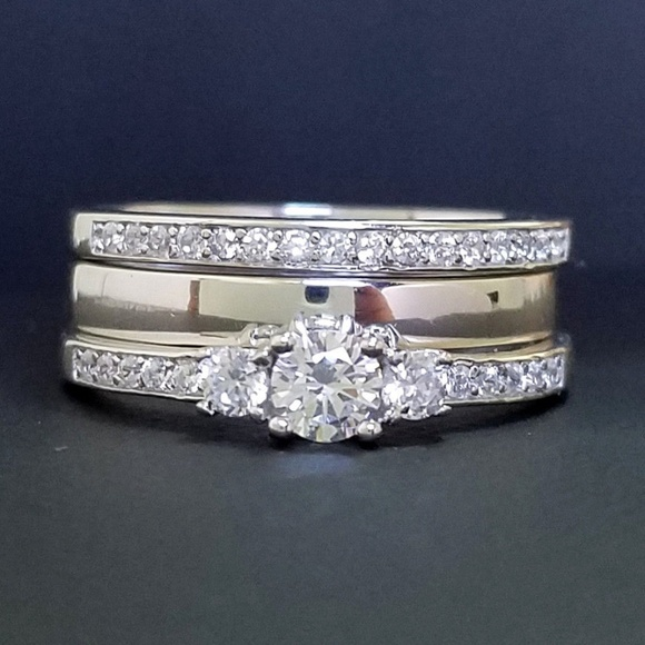 Wedding Band Stackable Clear CZ Wholesale Ring .925 Sterling Silver Sizes 5-10